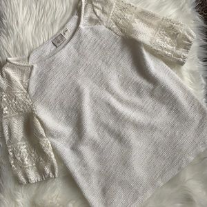 Anthropologie Boho Lace Sleeved Top